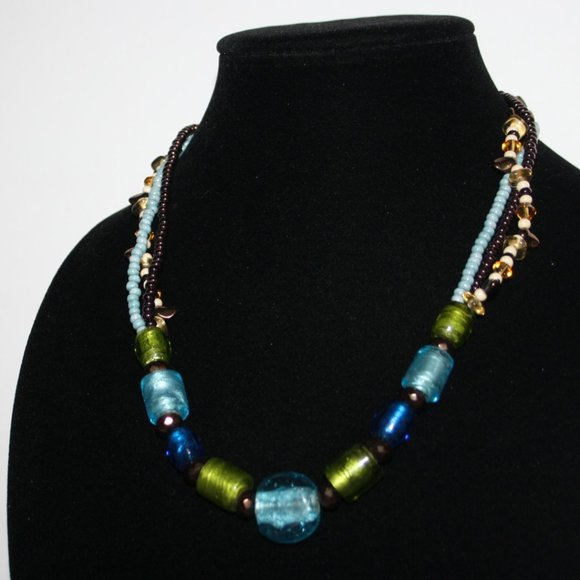 """Earth tone glass bead necklace 20"""""""